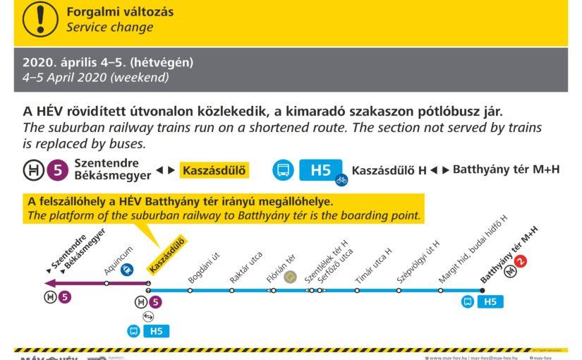 A H5-ös HÉV helyett pótlóbusz jár ezen a hétvégén a Batthyány tér és Kaszásdűlő között