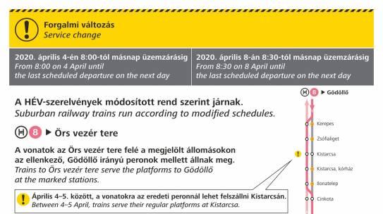 Menetrendi és megállóhelyi változások a H8-as HÉV-vonalon az április 4-5-i hétvégén és április 8-9-én